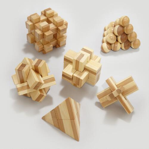 Bamboo Mini Puzzles, Set of 6