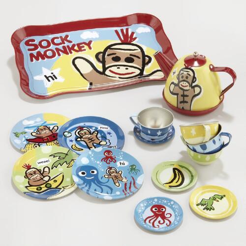 Sock Monkey Tea Set, 15-Piece