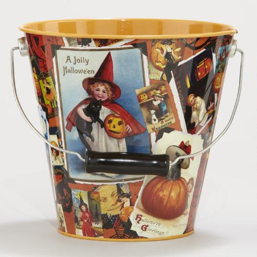 Vintage Halloween Postcard Art Tin Pail