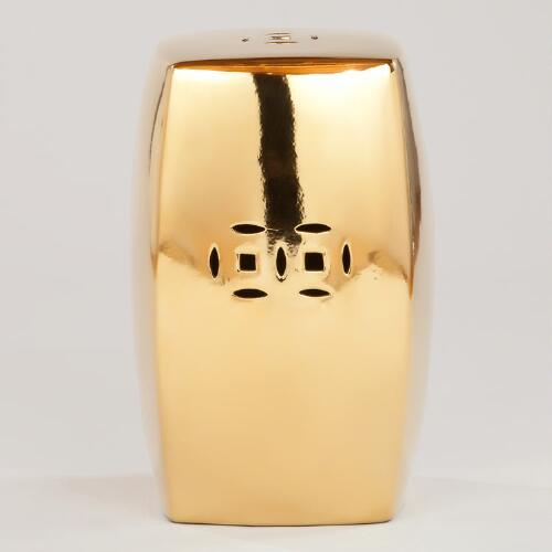 Gold Ceramic Lotus Stool