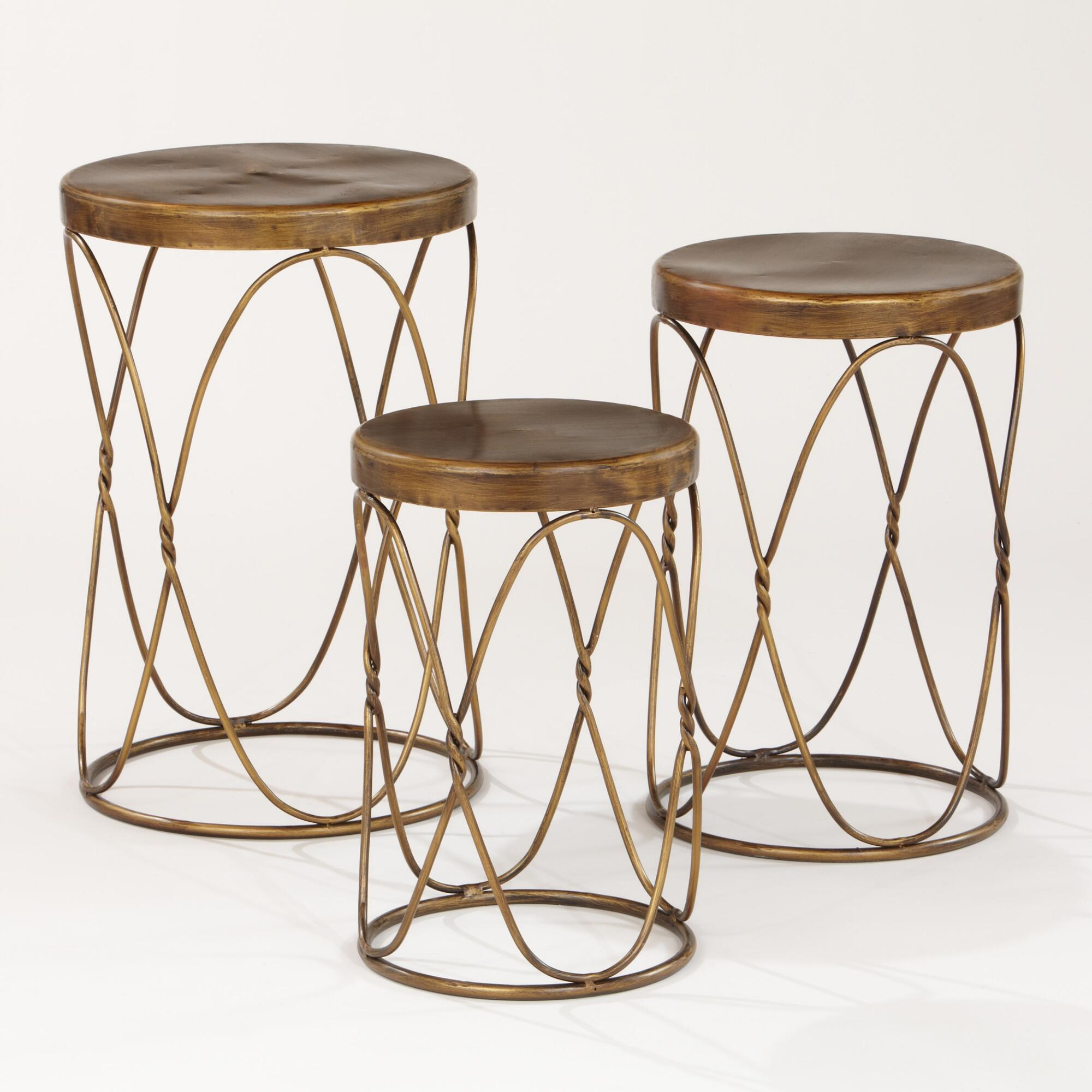 Nico nesting tables set of 3 world market for Small stackable coffee tables