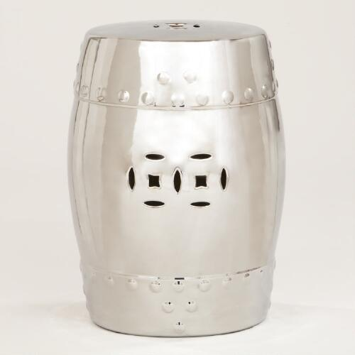 Silver Lotus Ceramic Stool