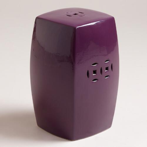 Crushed Violet Ceramic Lotus Stool