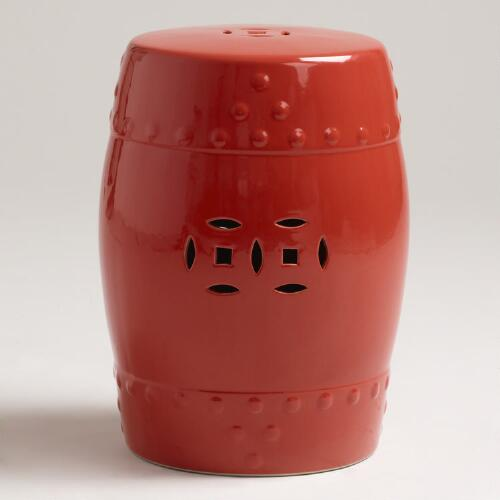 Deep Coral Ceramic Lotus Stool