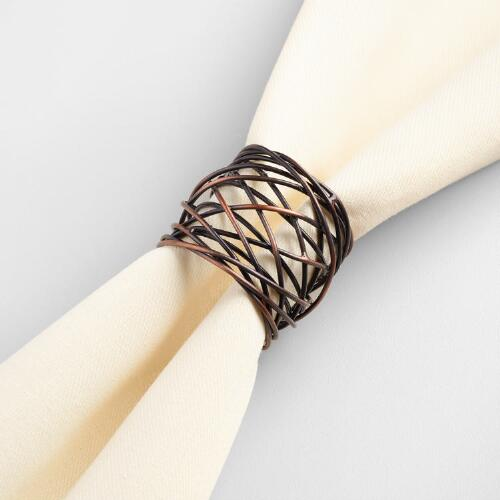 Woven Metal Napkin Rings, Set of 6