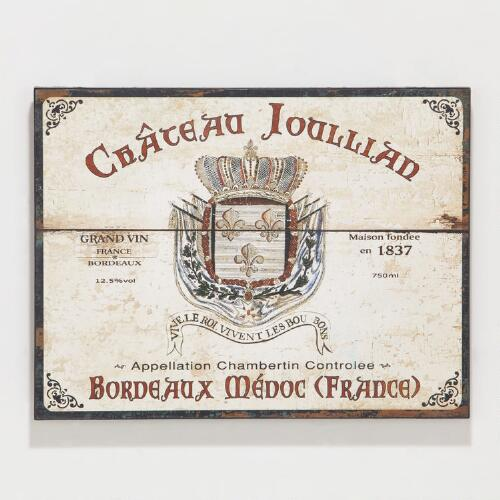 Wood Chateau Wine Labels, Set of 2