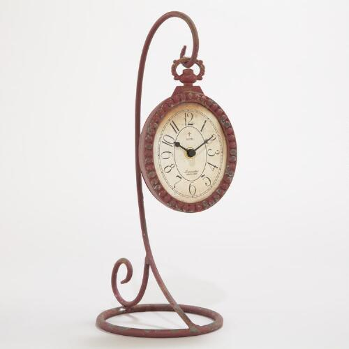 Red Clock with Stand