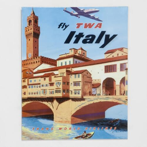 Fly to Italy Metal Plaque