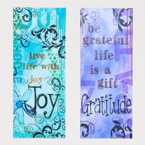 Joy and Gratitude Metal Plaques, Set of 2