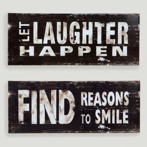 Laugh and Smile Metal Plaques, Set of 2