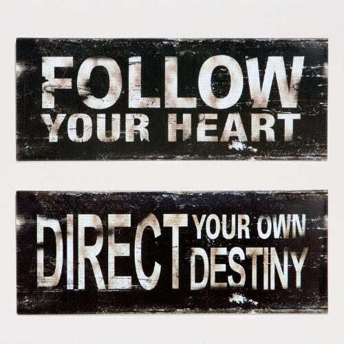 Heart and Destiny Metal Plaques, Set of 2