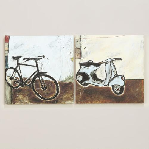 Vespa I and Bicycle I, Set of 2