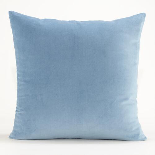 Adriatic Blue Velvet Throw Pillow Collection