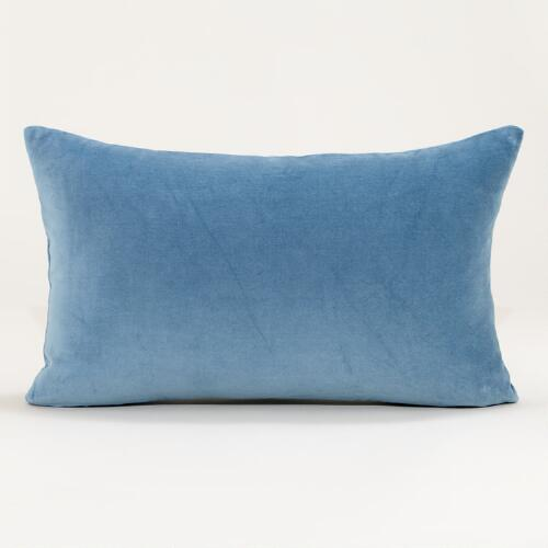 Adriatic Blue Velvet Lumbar Pillow