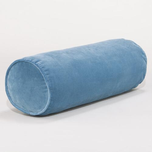 Adriatic Blue Velvet Bolster Pillow
