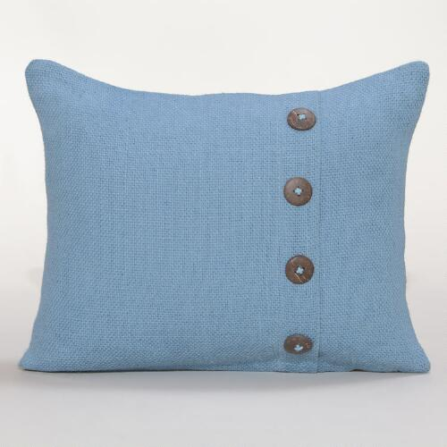 Tornado Blue Basket Weave Jute Lumbar Pillow
