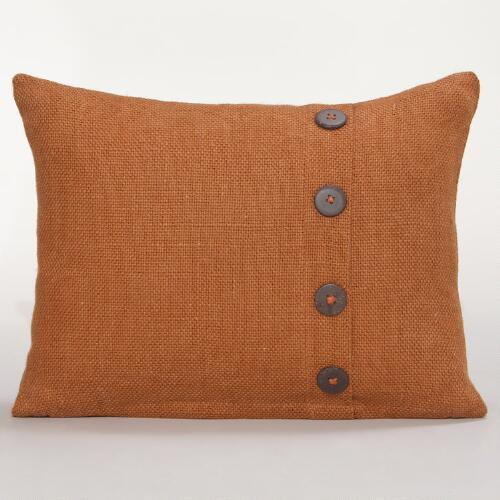 Rust Basket Weave Jute Lumbar Pillow