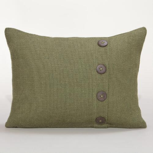 Green Basket Weave Jute Lumbar Pillow