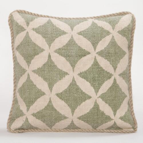Green Animalia Jute Throw Pillow