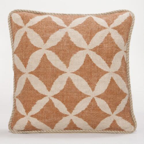 Rust Animalia Jute Throw Pillow
