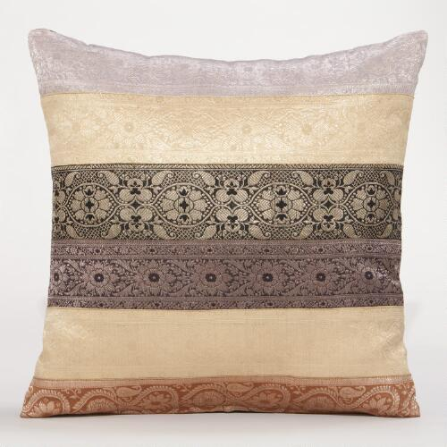 Multicolored Sari Miramar Lumbar Pillow