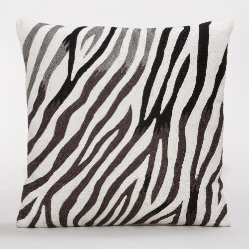 Zebra Chain-Stitch Throw Pillow