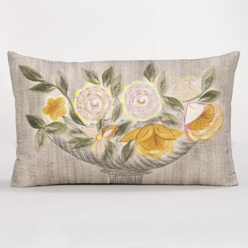 Hand Painted Floral Still Life Lumbar Pillow