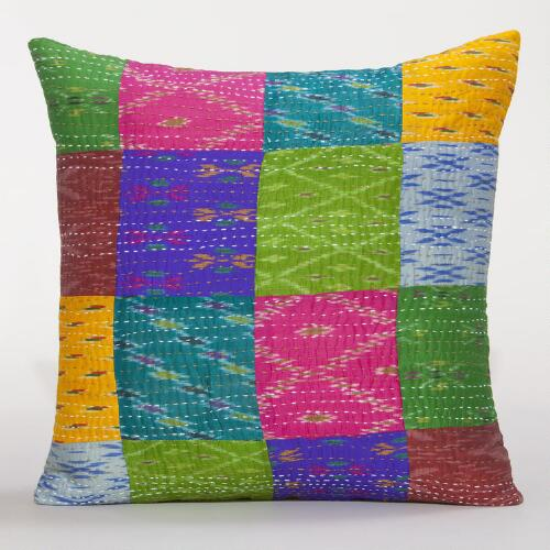 Kantha Multicolor Patchwork Pillow