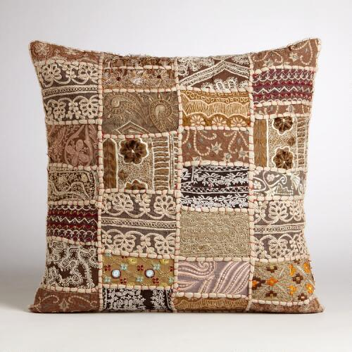Suti Natural Patchwork Throw Pillow