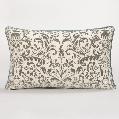 Medallion Flocked Lumbar Pillow