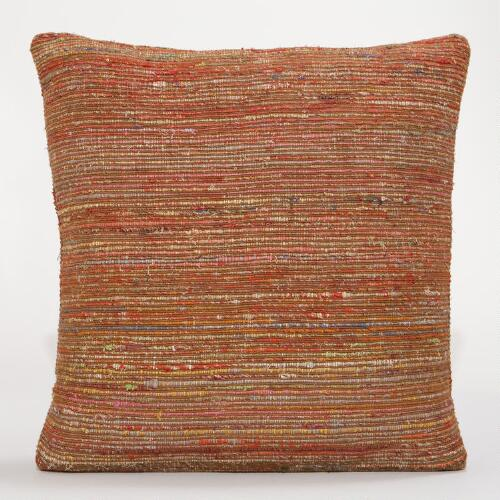 Rust Recycled Silk Sari Pillow