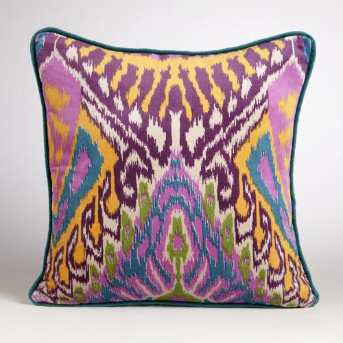 Teal Milika Ikat Velvet Throw Pillow