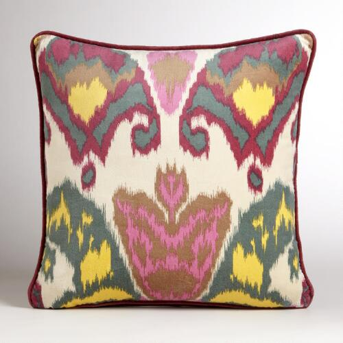 Berry Milika Ikat Velvet Throw Pillow