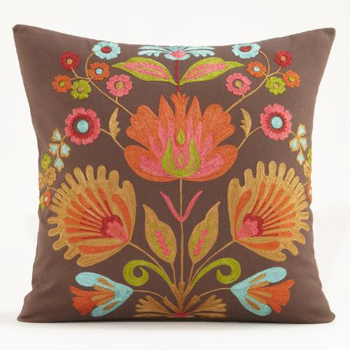 Multicolored Flower Murano Chain Stitched Pillow