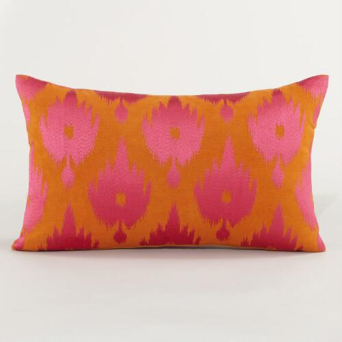 Warm Ikat Throw Pillow