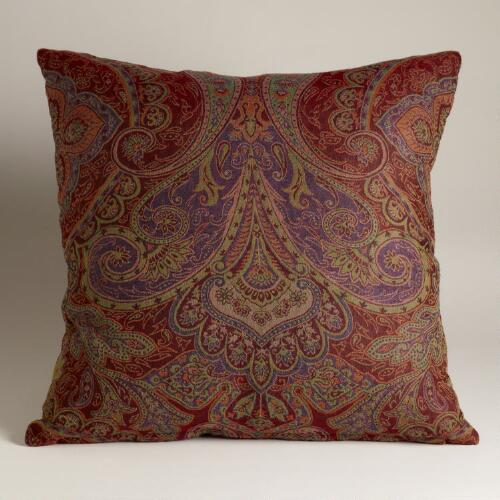 Red and Purple Paisley Jacquard Woven Pillow