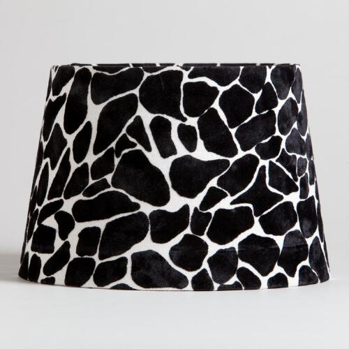 Black and White Giraffe Flocked Accent Lamp Shade