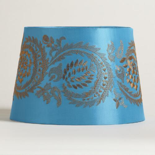 Blue Embroidery Accent Lamp Shade