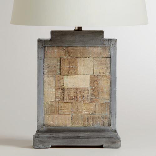 Jigsaw Wooden and Metal Table Lamp Base