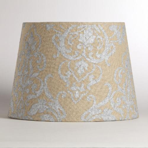 Natural Burlap  Metallic Print Lamp Shade
