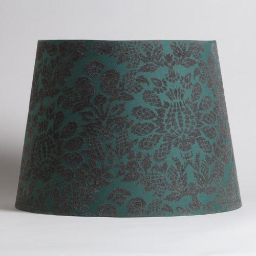 Green and Grey Flocked Table Lamp Shade