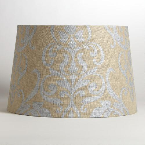 Natural Burlap with Metallic Print Floor Lamp Shade