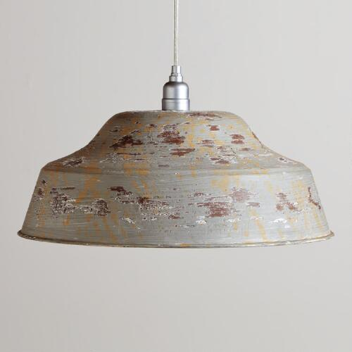 Distressed Gray Metal Pendant