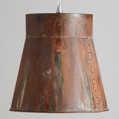 Distressed Metal Bucket Pendant