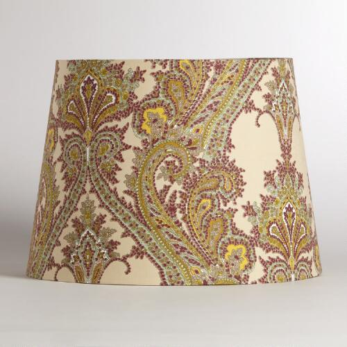 Cream and Plum Paisley Table Lamp Shade