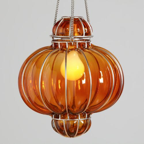 Orange Glass Venetian Pendant