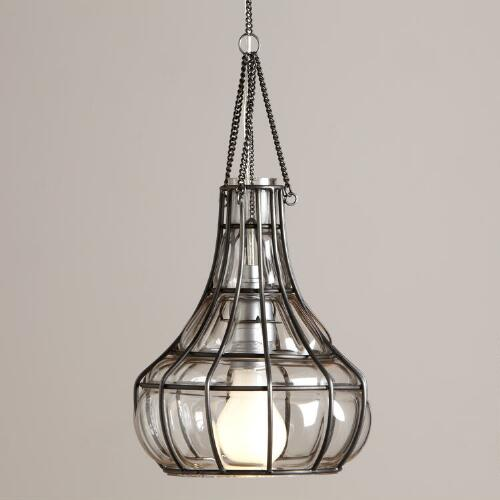 Blown Glass Bottle Pendant Lamp
