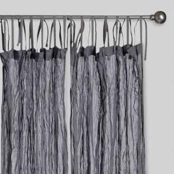Gray Crinkle Voile Cotton Curtain