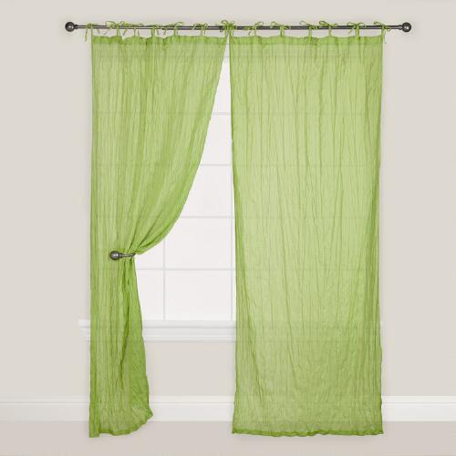 Green Crinkle Voile Cotton Curtain