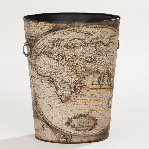 World Map Trash Can
